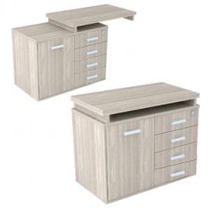Mesa auxiliar com pé armário de 1 porta à esquerda e 4 gavetas à direita