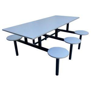Mesa de refeitório com assentos fixos