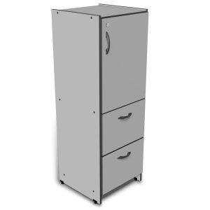 Arquivo com 2 gavetões e 1 porta