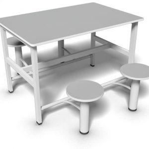 Mesa de refeitório com bancos retráteis de 4 lugares e tampo 18 mm