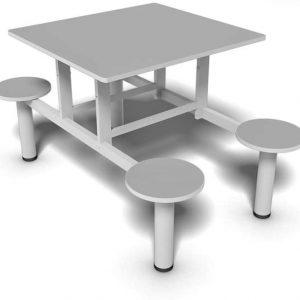Mesa de refeitório com bancos fixos de 4 lugares e tampo 18 mm