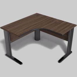 Mesa em L com pés de aço e ergosoft