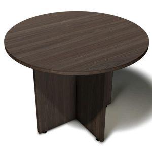 Mesa de reunião redonda com pés painel em X